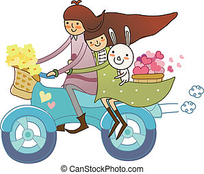 Boy and Girl on motorcycle  - Boy and Girl on motorcycle