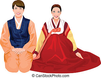 Young couple in Korean dress - Young couple in Korean...