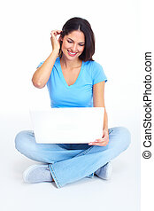 Woman with laptop computer. - Woman with laptop computer...
