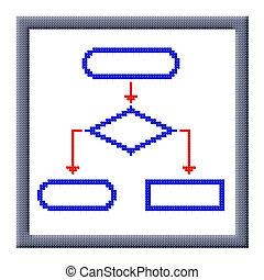 Cubes pixel image of flowchart icon