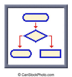 Cubes pixel image of flowchart icon in frame