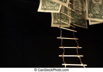 Rope-ladder and money - One dollar banknotes and rope-ladder...