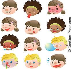 Children of various facial expressi