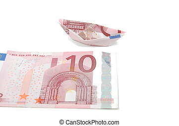 Ship of Money - Money and a Ship Isolated on white...