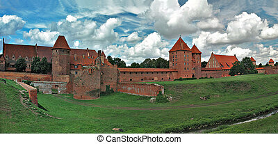 The old castle in Malbork - Poland. Stitched Panorama