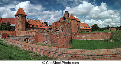 The old castle in Malbork - Poland. Stitched Panorama.