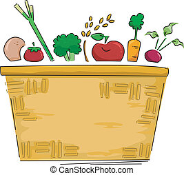 Basket of Fruits and Vegetables Background - Background...