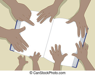 Family Hands with Book Background 2