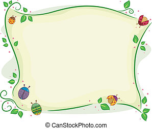 Ladybug with Vines Background - Background Illustration of...