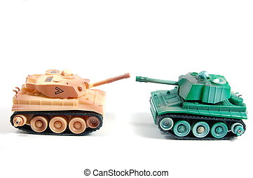 Battletank - two toy tanks isolated on white backround...