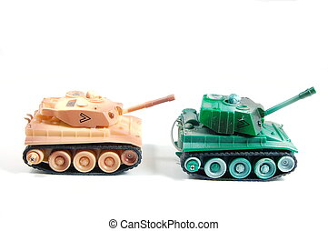 Battletank - two toy tanks isolated on white backround....