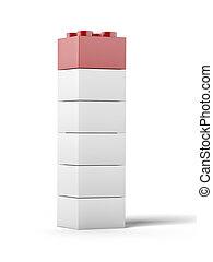 白, 赤, プラスチック, おもちゃ, ブロック