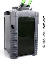 Aquarium filter - Freshwater aquarium filter on isolated...