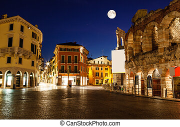 Full Moon above Piazza Bra and Ancient Roman Amphitheater in...