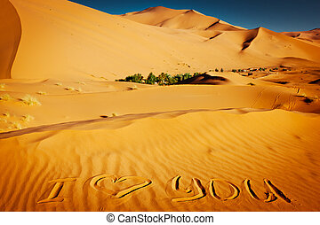 Words quot;I love youquot; written in the sand dunes - The...