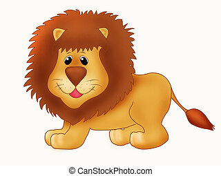 Lion - Illustration of a cute smiling lion