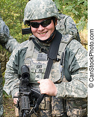 US Soldier - The portrait of the smiling US Army soldier...