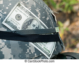Soldiers helmet - The closeup of the US Army soldiers helmet...