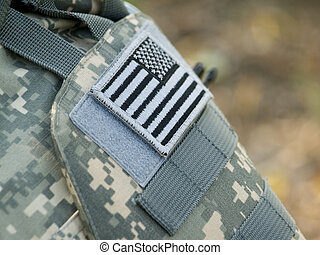The USA flag - The US Army badge uniform flag closeup