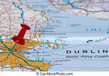 Dublin on the map - Pushpin pointing location of Dublin on...