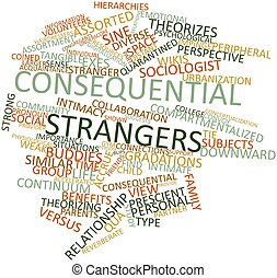 Consequential strangers - Abstract word cloud for...