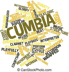 Cumbia - Abstract word cloud for Cumbia with related tags...