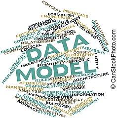 parola, nuvola, dati, modello