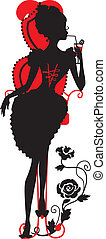 Silhouette of woman with a cocktail