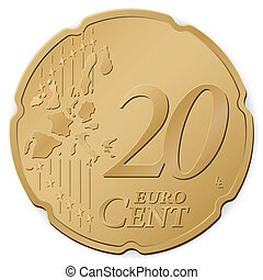 20 euro cent isolated on a white background. Vector...