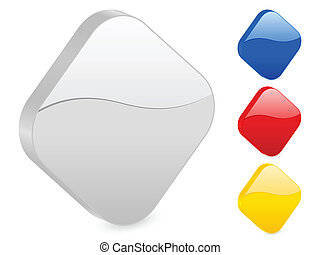 3D rhombus icon set isolated on a white background Vector...