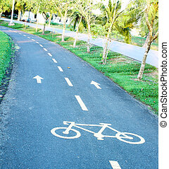 sinuous bicycle path in the park