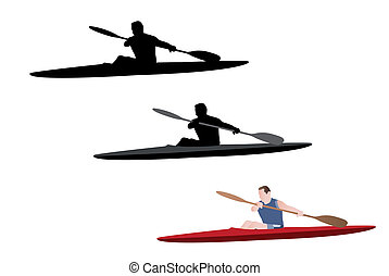 kayaking silhouette and illustration - vector