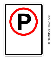 parking sign blank for text on white