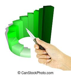 pen pointing 3d growth bar graph