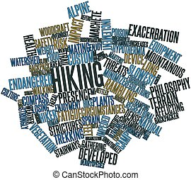 Hiking - Abstract word cloud for Hiking with related tags...