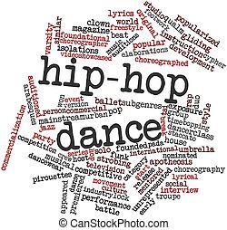 palavra, nuvem, hip-hop, dança