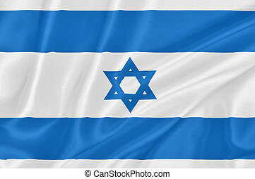 Flag of Israel waving with highly detailed textile texture...