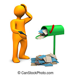 Overcrowded Mailbox - Orange cartoon character with...
