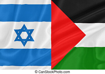 Israeli–Palestinian conflict - Flag of Israel with flag of...