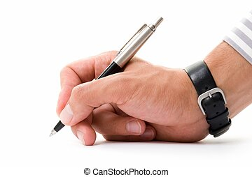 hand with pen - Beautiful man\\\'s hand with a pen on a...