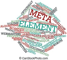 Meta element - Abstract word cloud for Meta element with...