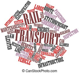 Rail transport - Abstract word cloud for Rail transport with...
