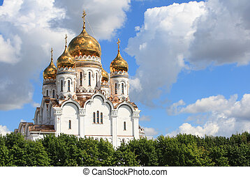 Russian orthodox church with gold domes