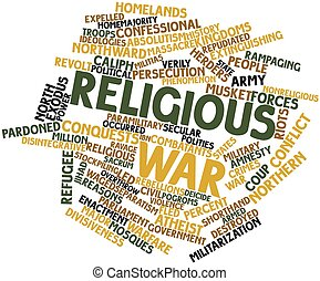 Religious war - Abstract word cloud for Religious war with...