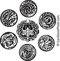 Round dragon designs Set of black and white vector emblems
