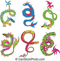 Long japanese dragon worms Set of color vector illustrations...