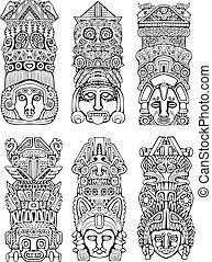 azteca, tótem, postes