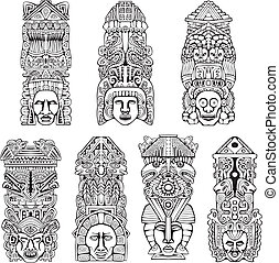 postes, azteca,  tótem