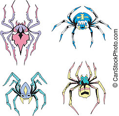 Symmetrical spiders. Set of color vector illustrations.