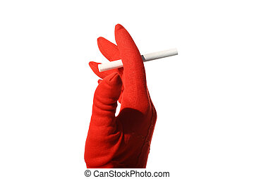 cigarette in girl red hand